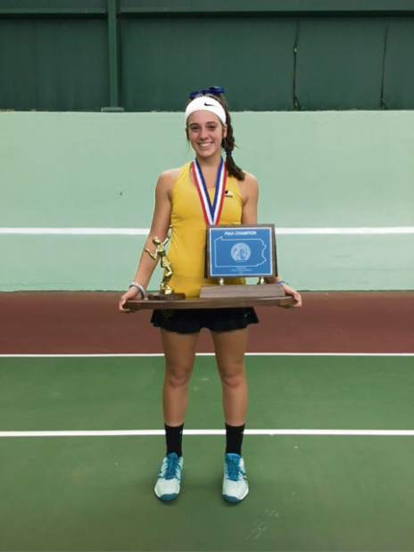 Freshman Ava Catanzarite helped North Allegheny win the PIAA girls tennis championship Saturday Oct. 28 2017, in Hershey.