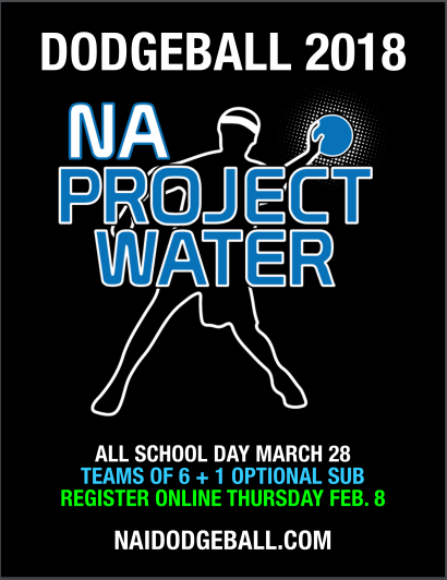 Flyer for the Project Water Dodgeball tournament for 2018. Don't forget to sign up at https://naprojectwater.com/