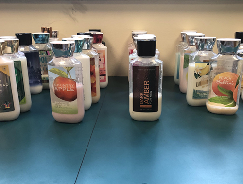 Mr. Jorden's collection of extravagant lotions.