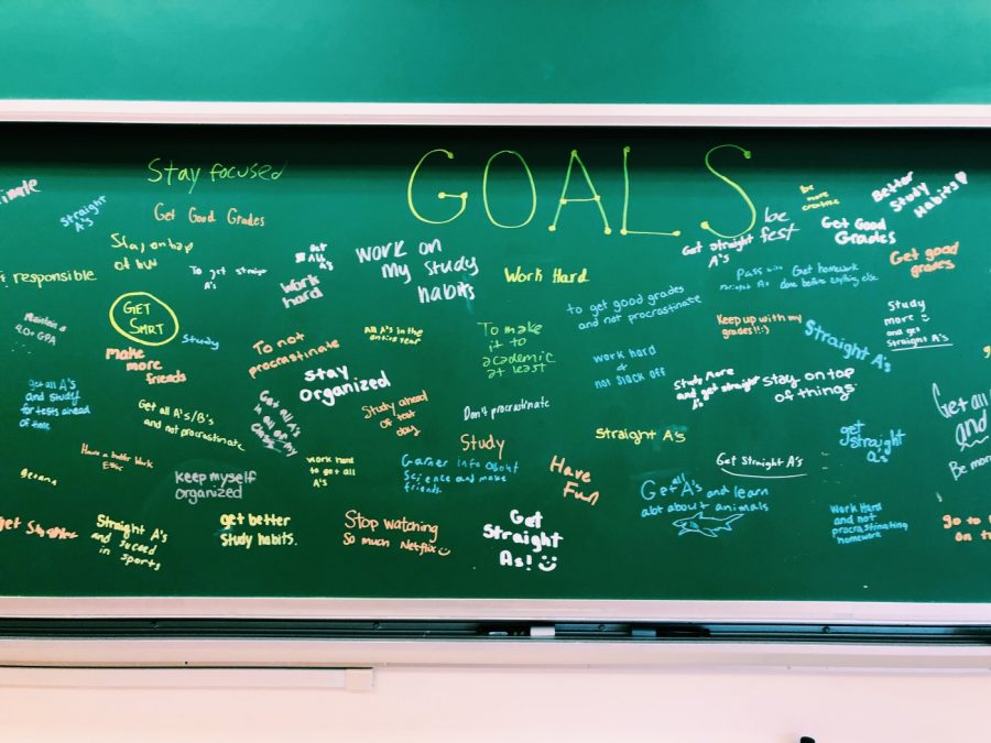 Dr.+Gallo%27s+students+wrote+their+goals+for+the+year+on+the+chalkboard.