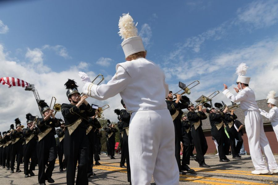 The drum majors conducting during the McCandless  Day parade.