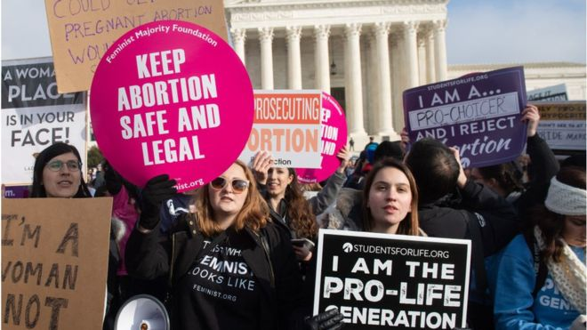 Women that are for and against the choice of abortion protesting outside of the Supreme Court building.