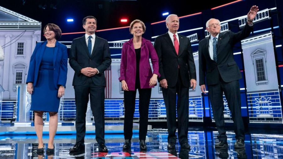 Democratic candidates at a recent primary debate. Left to Right: Amy Klobuchar, Pete Buttigieg, Elizabeth Warren, Joe Biden, and Bernie Sanders.