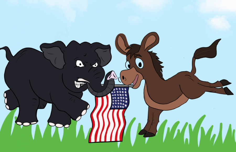 The+Democrat+Donkey+and+Republican+Elephant+fighting+to+see+who+ends+up+with+the+American+flag.