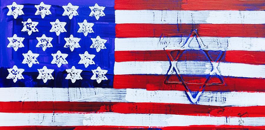 A painting of Stars of David embedded in the American Flag.