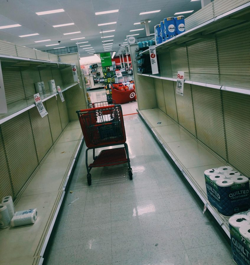 Empty+shelves+in+the+cleaning%2Fhygiene+aisles+at+local+Target+stores+due+to+customers+%22panic-buying.%22