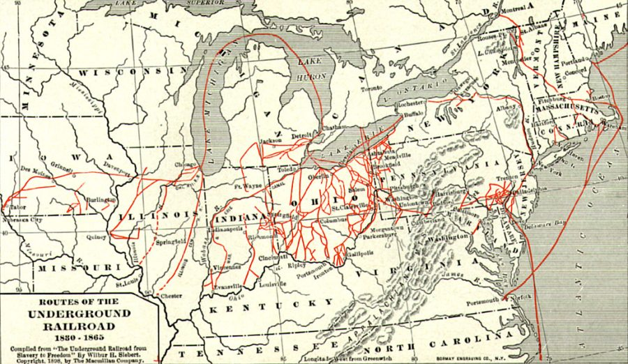 A map of the routes of the Underground Railroad