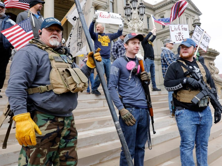 Armed+protestors+in+Michigan+demand+Governor+Whitmer+to+lift+the+lockdown.