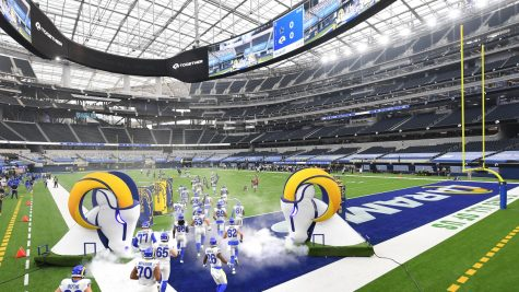 The stands in the brand new Sofi Stadium in Los Angeles were completely empty for the Los Angeles Rams