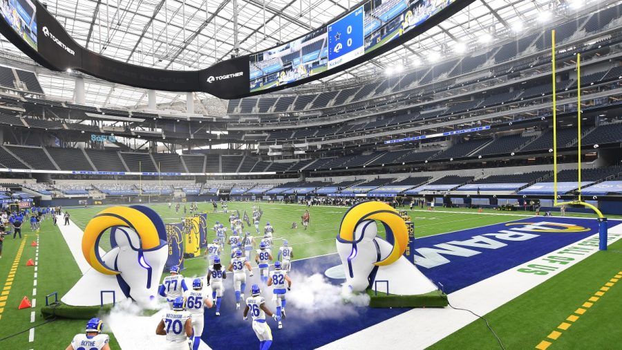 The stands in the brand new Sofi Stadium in Los Angeles were completely empty for the Los Angeles Rams' game against the Dallas Cowboys on 9/13
