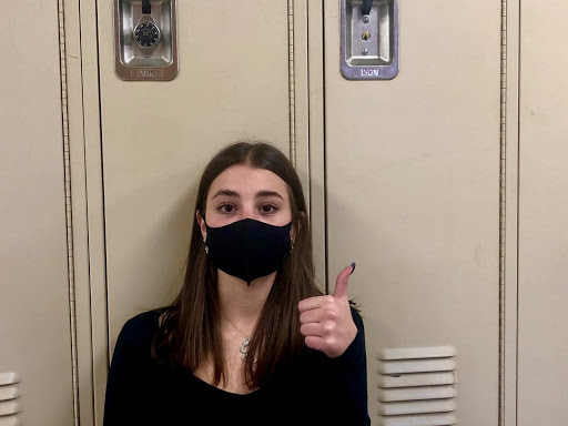 Sophia Mitchell, Sophomore- Because my mom told me to and it makes me feel emoDo you think you are unrecognizable with the mask? Are your identifiable features covered?No  i am still recognizable What is your biggest issue with the mask?I Cant hear people and it is harder for me to breatheDoes the mask affect your daily life?Yes i cant smile