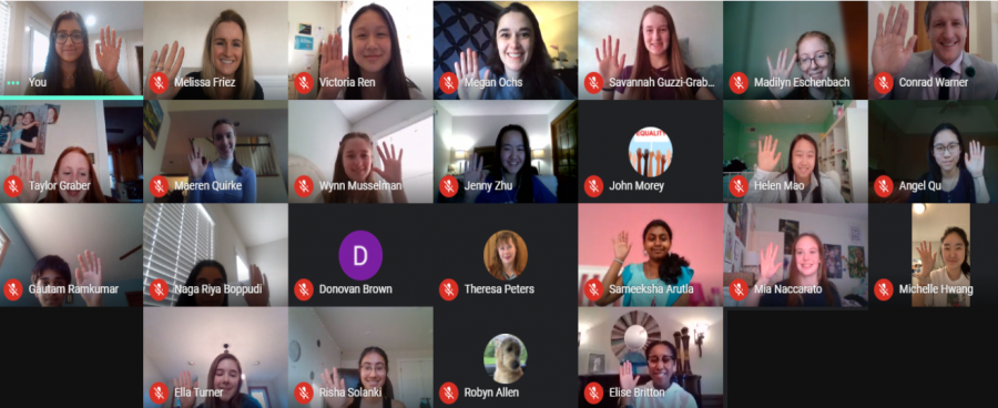 A group of students and teachers meet online and take the pledge to #ChoosetoChallenge
